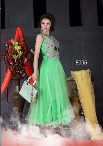Attractive Green Partywear Net Gown
