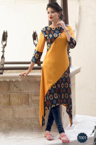 Rayon kurtis 7001-7007 long stylish patterms in sethnic surat