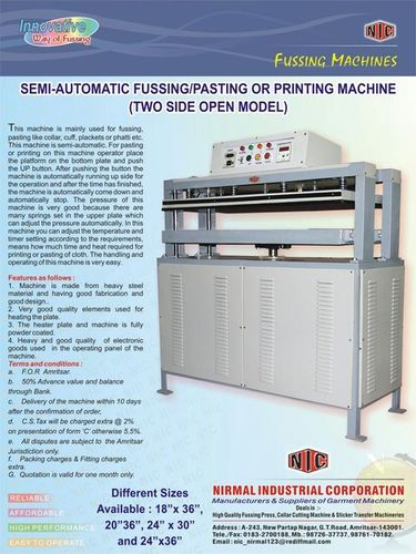 Semi Automatic Fussing/Pasting or Printing Machine