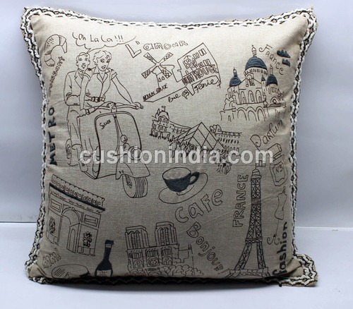 Embroidered Linen Designer Artwork Cushion
