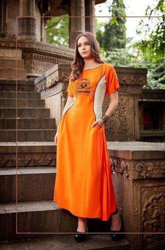 Best Sold  Orange Rayon Casual Kurti
