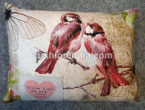 Loving Birds Designer Cushion with Pocket 14