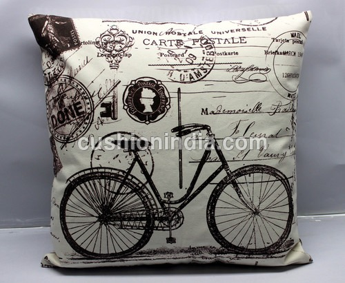 Vintage Bycycle Artwork Cotton Cushion Cover 18