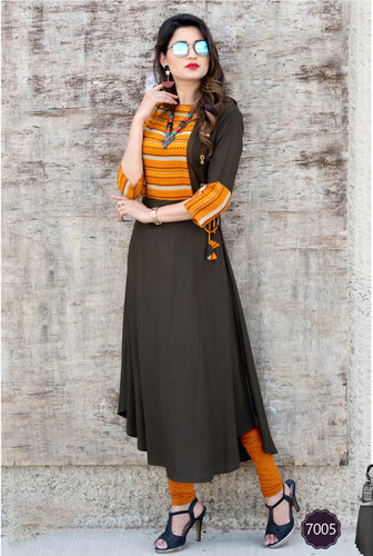 Rayon kurtis 7001-7007 long stylish patterms