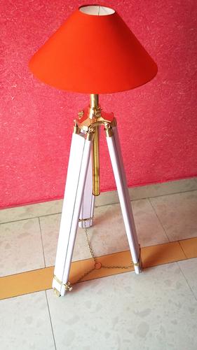 Teak Wood Tripod Floor Lamp