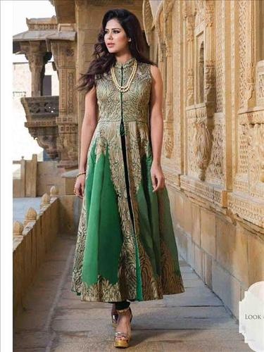 Green Chanderi Silk designer salwar suit