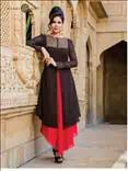 Black and Red viscose georgette salwar kameez