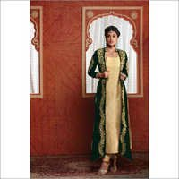 Stylish Cream And Green Party Wear Salwar Kameez