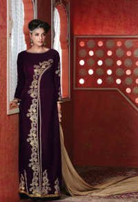Marvelous Indigo Velvet And Net Salwar Suit.