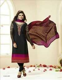 Black Semi Stitched Partywear Salwar Suit