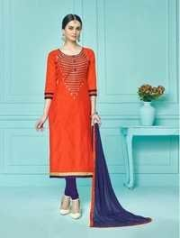 Orange Stylish Cotton Stylish Suit