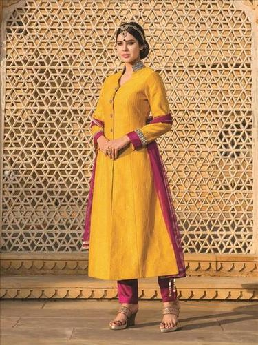 Stylish Yellow Partywear Salwar Suit