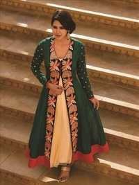 Multicolored Chiffon And Net Salwar Suit
