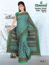 Dark Green Cotton Saree
