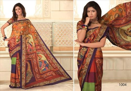 Multicolored partywear printed saree