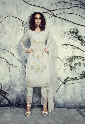 White Semi Georgette Salwar Suit