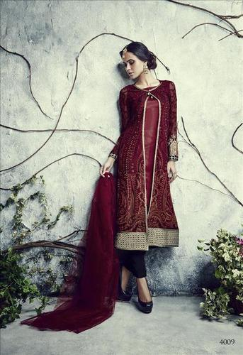 Maroon Georgette Wedding Salwar Suit