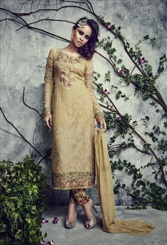 Cream Semi Georgette Partywear Salwar Kameez