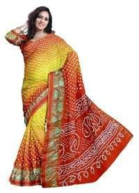 Bandhani Art Silk Red Border Saree
