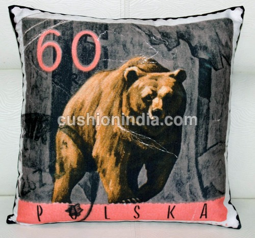 STAMP  Art  image  Printed  Cushion  - 40 Cm Sq.