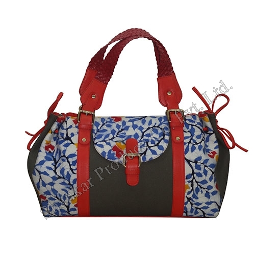 Ladies Drawstring Bag in Handmade Batik and Canvas with Leather