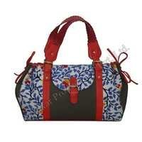 Cotton Batik Bag with Leather Trims