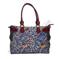 Tote Bag in Cotton Handmade Batik With Leather Trims