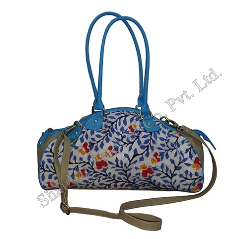 Cotton Bag In Handmade Batik With Leather Trims