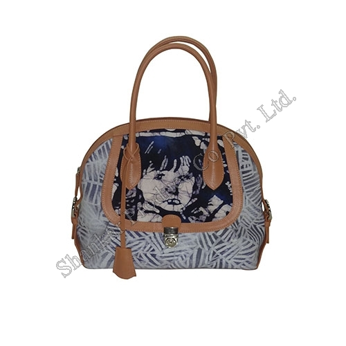Cotton Hand Bag Batik with Leather Trims