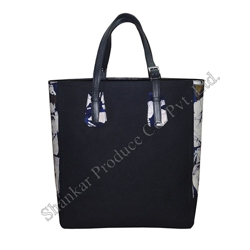 Cotton Tote with Batik Print in Leather Combination