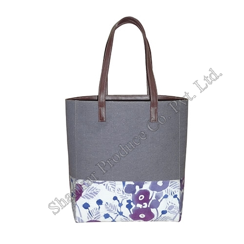 Cotton Canvas Tote with Hand Batik and Leather Trims