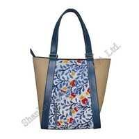 Canvas Tote with Batik Print in Centre and with Leather Trims