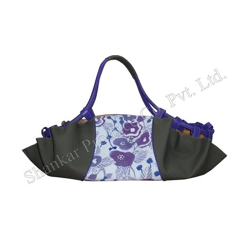 Batik & Canvas Beach Bag With Leather Trims
