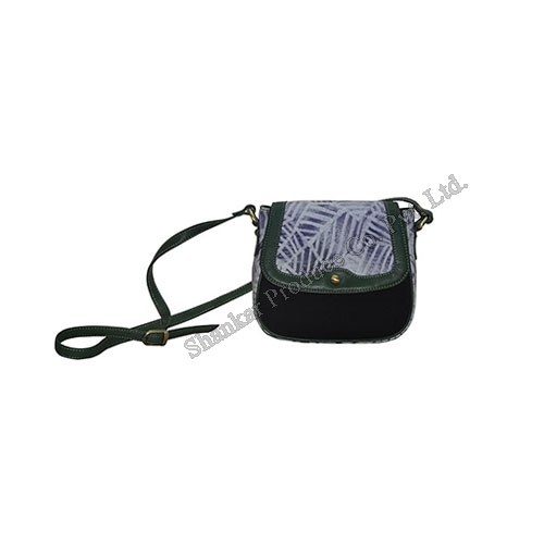Canvas Cross Body Bag with Batik Print & Leather Trims