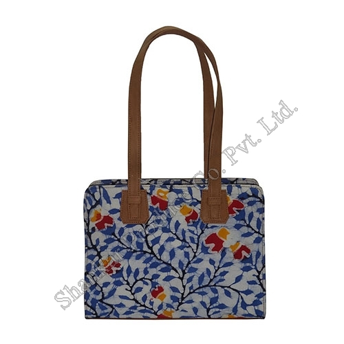 Batik and Canvas Shoulder bag with Leather trims