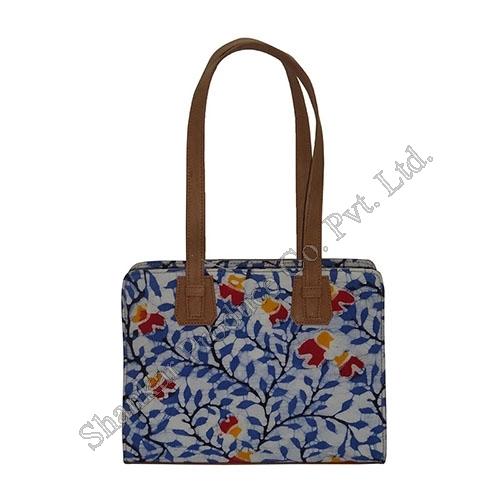 Cotton Batik and Canvas Shoulder bag with Leather trims