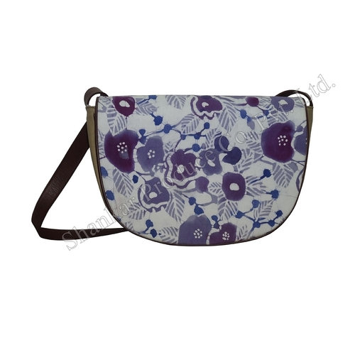 Canvas Shoulder Bag with Hand Batik Print