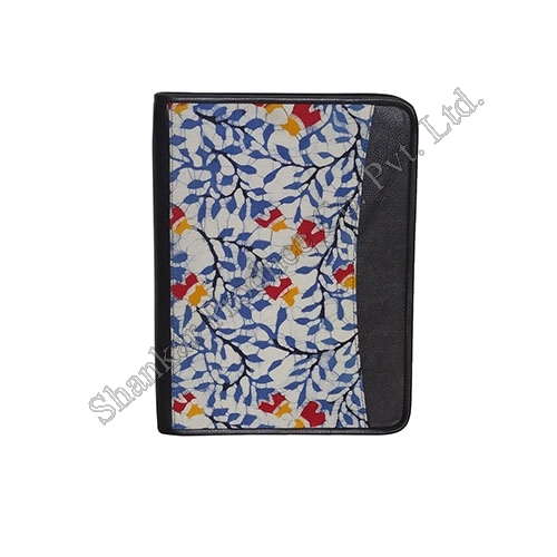 Cotton Business Folio with Hand Batik & Genuine Leather Trims