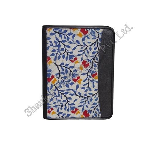 Cotton Business Folio with Hand Batik & Genuine Leather Trims