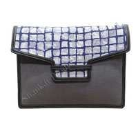 Document Case In Canvas and Batik With Leather Trims