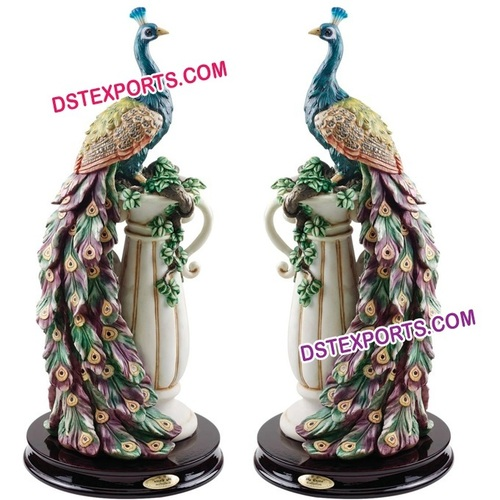 Wedding Welcome Fiber Peacock Statue On Pillar
