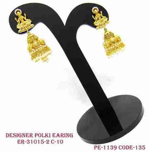 Gold Polish Designer Polki Jhumka