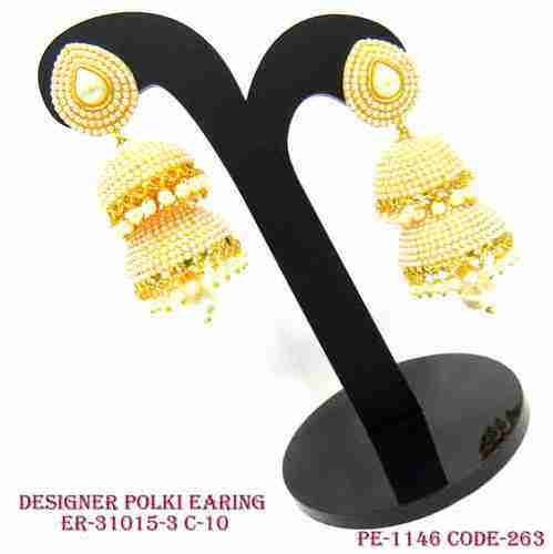 Gold Polish Polki Earring