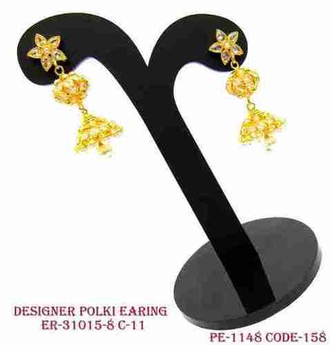 Polki Jhumka Earring Gold Polish with Diamond