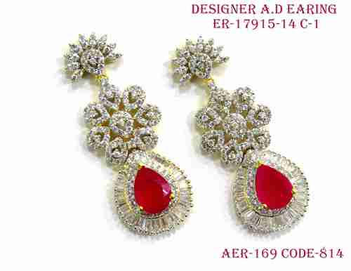A. D.Earring,Daimond Earring,Red stone diamond earring