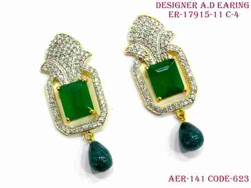 A. D.Earring,Daimond Earring,Green stone diamond earring