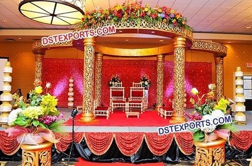 Indian Wedding Royal Golden Carved Mandap