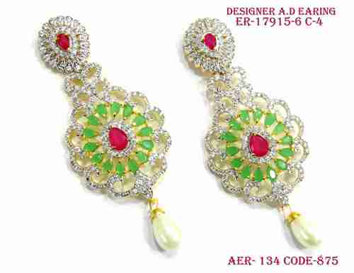 A. D.Earring,Daimond Earring.,Pink and Green stone diamond earring