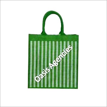 Stripe Print Jute Shopping Bag