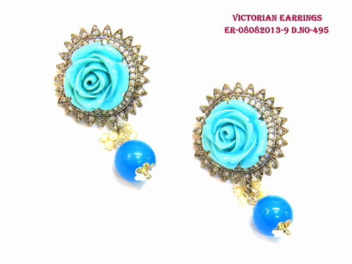 Exclusive Victorian Earring,Flower Earring,Rose Earring